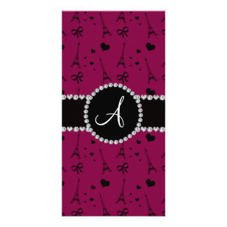 Monogram plum purple eiffel tower pattern photo greeting card