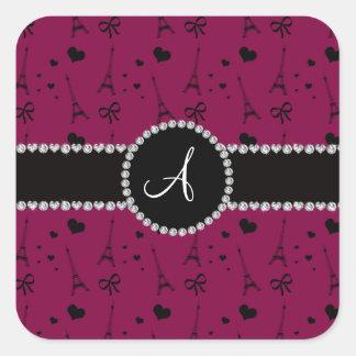 Monogram plum purple eiffel tower pattern square sticker