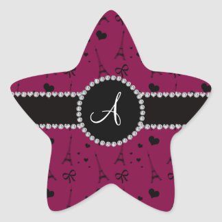 Monogram plum purple eiffel tower pattern star sticker