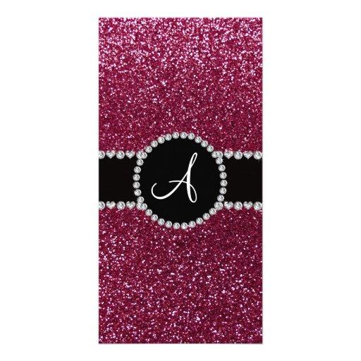 Monogram plum purple glitter diamond black circle custom photo card
