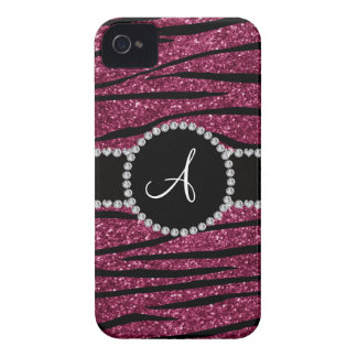 Monogram plum purple glitter zebra stripes circle iPhone 4 Case-Mate case