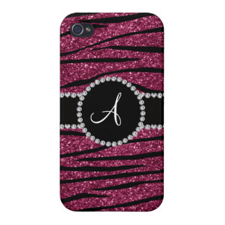 Monogram plum purple glitter zebra stripes circle case for iPhone 4