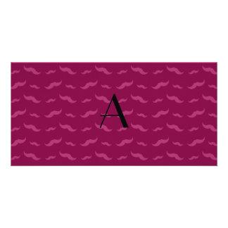 Monogram plum purple mustache pattern personalized photo card