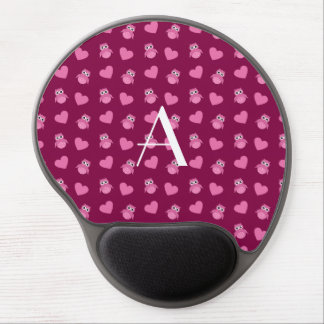 Monogram plum purple owls and hearts gel mouse mats