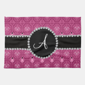 Monogram plum purple snowman trellis pattern towels