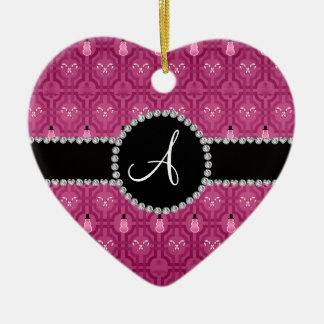 Monogram plum purple snowman trellis pattern Double-Sided heart ceramic christmas ornament