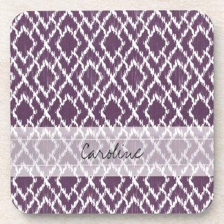 Monogram Plum Purple Tribal Ikat Diamond Pattern Beverage Coaster