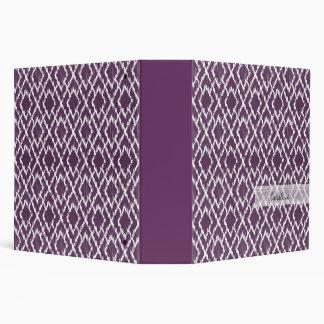 Monogram Plum Purple Tribal Ikat Diamond Pattern Vinyl Binder
