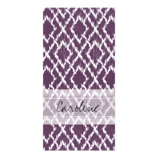 Monogram Plum Purple Tribal Ikat Diamond Pattern Card