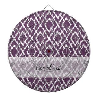 Monogram Plum Purple Tribal Ikat Diamond Pattern Dart Board