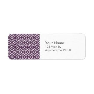 Monogram Plum Purple Tribal Ikat Diamond Pattern Label