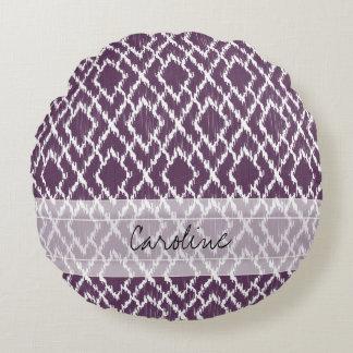 Monogram Plum Purple Tribal Ikat Diamond Pattern Round Pillow