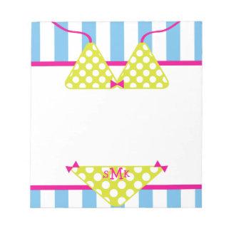 Monogram Polka Dot Bikini Notepad