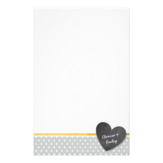 MONOGRAM polka dot chalkboard heart pale gray Stationery