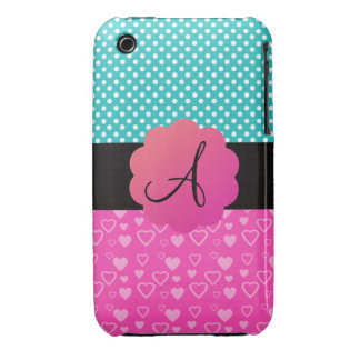 Monogram polka dots and hearts iPhone 3 Case-Mate cases