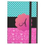 Monogram polka dots and hearts iPad folio case