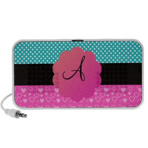 Monogram polka dots and hearts travelling speakers