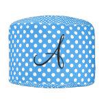 Monogram polka dots blue and white round pouf