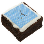 Monogram polka dots blue and white square brownie