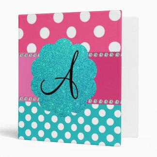 Monogram polka dots diamonds pink 3 ring binder