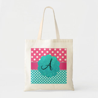 Monogram polka dots diamonds pink budget tote bag