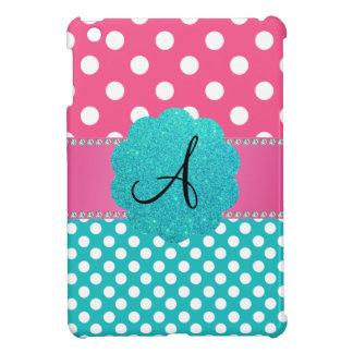 Monogram polka dots diamonds pink iPad mini case