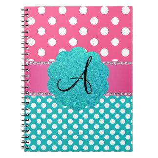 Monogram polka dots diamonds pink journal