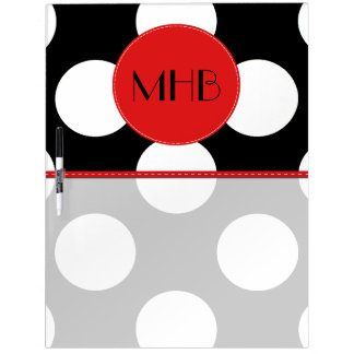 Monogram - Polka Dots, Dotted Pattern - Black Dry-Erase Board