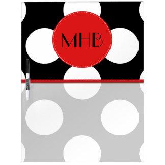 Monogram - Polka Dots, Dotted Pattern - Black Dry-Erase Board