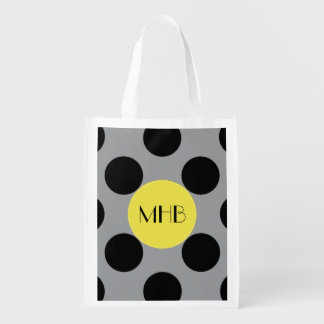 Monogram - Polka Dots (Dotted Pattern) - Gray Grocery Bags