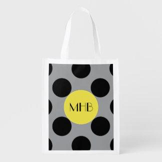 Monogram - Polka Dots (Dotted Pattern) - Gray Market Tote