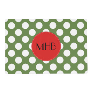 Monogram - Polka Dots, Dotted Pattern - Green Placemat