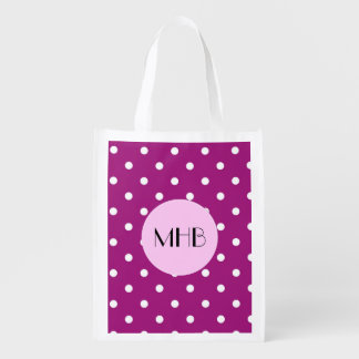 Monogram - Polka Dots (Dotted Pattern) - Purple Grocery Bag