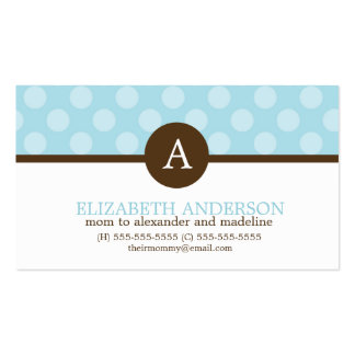 Monogram Polka Dots Mom Calling Cards Business Cards