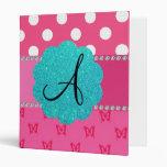 Monogram polka dots pink butterflies vinyl binders