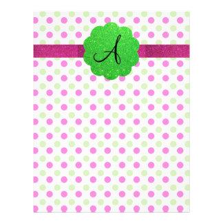 "Monogram polka dots pink green 8.5"" x 11"" flyer"