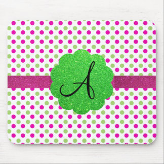 Monogram polka dots pink green mouse pad