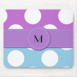 Monogram - Polka Dots, Spots - Blue White Purple Mouse Pad