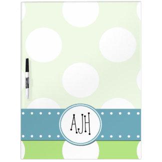 Monogram - Polka Dots, Spots - Green White Blue Dry Erase Boards