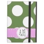 Monogram - Polka Dots, Spots - Green White Pink iPad Air Case