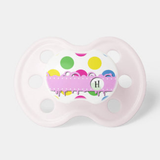 Monogram - Polka Dots Spots - Pink Green Yellow Pacifiers