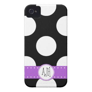 Monogram - Polka Dots, Spots - White Black Purple iPhone 4 Case-Mate Case