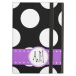 Monogram - Polka Dots, Spots - White Black Purple Case For iPad Air