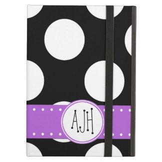 Monogram - Polka Dots, Spots - White Black Purple Cover For iPad Air