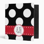 Monogram - Polka Dots, Spots - White Black Red Vinyl Binder