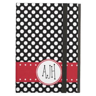 Monogram - Polka Dots, Spots - White Black Red iPad Air Cover