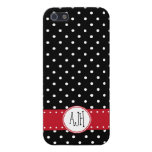 Monogram - Polka Dots, Spots - White Black Red Case For iPhone 5