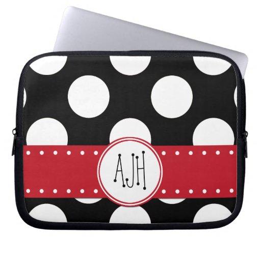 Monogram - Polka Dots, Spots - White Black Red Laptop Computer Sleeves