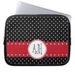 Monogram - Polka Dots, Spots - White Black Red Laptop Computer Sleeve