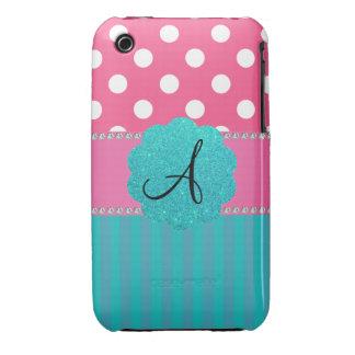 Monogram polka dots stripes iPhone 3 Case-Mate cases